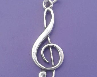 TREBLE Clef Charm .925 Sterling Silver, Music SYMBOL Pendant - lp1429