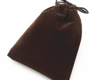 Wedding party jewelry coffee color 10 velvet pouches gift bags x 11cm