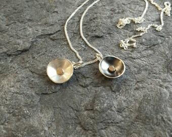 Tulip silver golden dot charm pendant