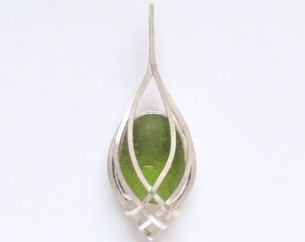 Sea Glass Jewelry - Sterling Olive Green Sea Glass Pendant