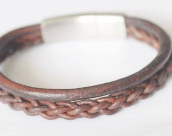 Mens Leather Bracelet, Fathers Day, Mens Gift, Leather Bracelet, Braided Bracelet, Mens Leather, Leather Wrap