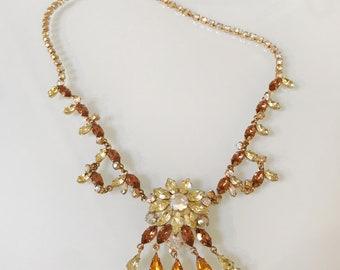 Stunning Vintage Flower Rhinestone Bib 50's Necklace-RARE