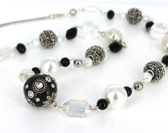 """Handmade 30"""" beaded Necklace, Black and White Necklace"""