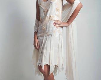 flapper dress wedding bridal scarf vintage 80s does 20s cream beaded sequined drop waist SMALL MEDIUM S M