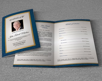 Funeral Program Template | Obituary Program Template | Photoshop, Mac Page and MS Word Template | Instant Download | T-290