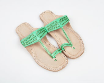 Absinthe Green Leather Sandals