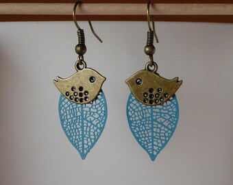 Bronze blue filigree leaf and bird earrings