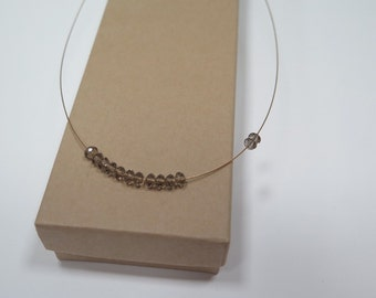 Handcrafted Lucky 13 gold cable crystal  collarbone necklace