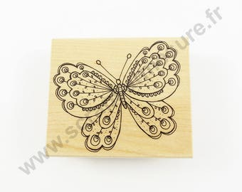 1 PCs x - large Butterfly - wooden rubber stamp