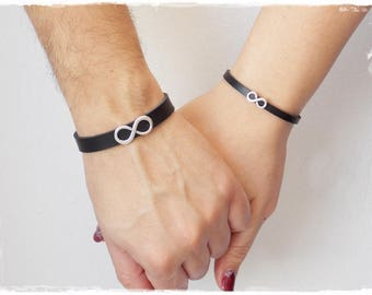 His & Hers Leather Bracelets, Infinity Leather Bracelets, 3rd Anniversary Bracelets, Couple's Bracelets, Couple's Infinity Bracelets
