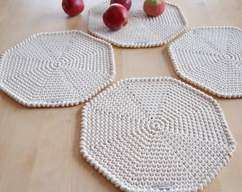 Handmade placemats, Cotton crochet octagon placemats, Rustic round placemats, Octagon placemats, Country placemats, Natural placemats