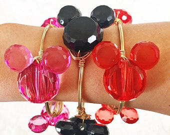 Black Pink Mickey Mouse Inspired Wire Wrapped Bangle Bracelet Minnie Mouse Inspired jewelry