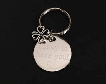 Personalized Clover Key Chain. Customized Stainless Steel Key Chain. Lucky Key Chain. Good Lucky Key Chain. I am Lucky to Have You Key Chain