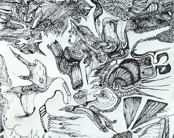 """Black Ink - Drawing - 11"""" X 14"""" - Cave Dwellers - Not Framed"""