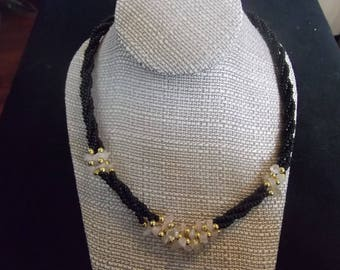 Black, Quartz and Gold Tone Beaded Necklace