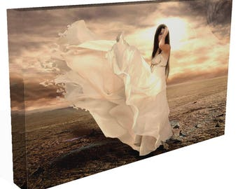 Fantasy ANGEL Girl  In Floaty Dress Stunning Gallery Framed Canvas Print Or Poster Art