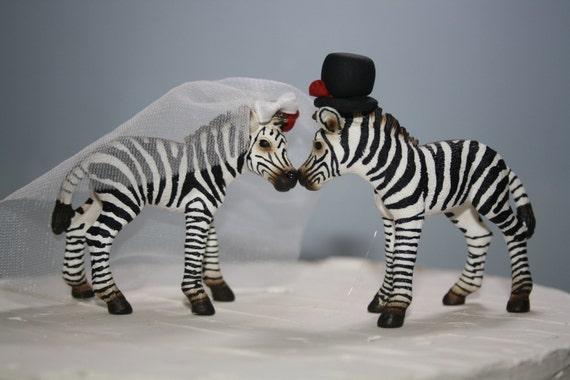 Zebra wedding cake topper animal bride and groom black and zebra wedding cake topper animal bride and groom black and white wedding adorable cute unique one of a kind wedding decoration junglespirit Images