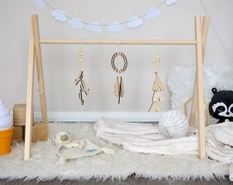 Classic Wooden Baby Gym with or without Gym Toys - Dream Catcher / Play Gym / Activity Gym / Nursery Decor / Baby Sensory Toy / Montessori
