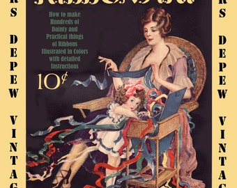 Vintage Sewing Book 1920's Ribbon Art Ebook How To for Rosettes, Millinery, Lingerie etc. -INSTANT DOWNLOAD-