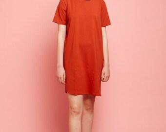 Dark Orange Women Dress, Orange T Shirt dress, Short Sleeves Dress, Casual Dress,Summer Dress, Sleeve Shirt, Women  Tunic, Sun Dress
