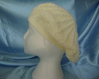 Cream Beret - Cream Tam - Cream Hat - Ladies Beret - Ladies Tam - Ladies Hat - Crocheted Beret - Crocheted Tam - Ready to ship