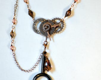 Spy Glass Necklace, Sherlock Holmes Necklace, Steampunk Necklace, Victorian Necklace, Monocle Necklace