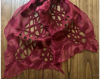 Wine Felted Wool Scarf with Silk Chiffon