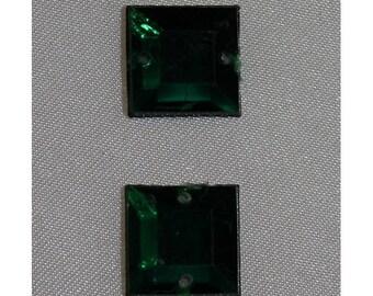 square rhinestone - 12 mm - Green