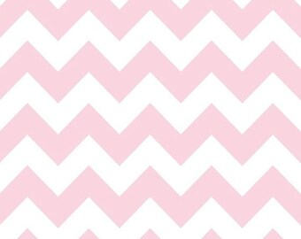Summer Clearance Riley Blake Fabric - Half Yard of Medium Chevron in Baby Pink