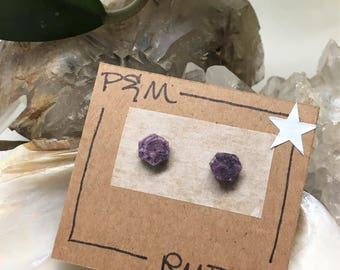 Petite Ruby Crystal Stud Earrings - Sterling Silver Post - Rough, Raw Stone - Natural Mineral Beauty