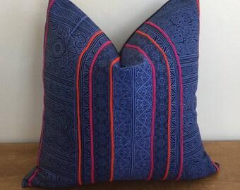 Navy Blue Indigo Hmong Handblocked Tribal Pillow Cover // 17 x 17