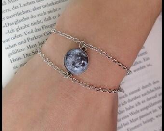 Lunar Moon Bracelet Moon live Galaxy Galaxy Silver pendant glass Necklace Moon Bracelet Luna