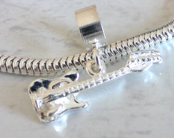 ELECTRIC GUITAR Sterling Silver MUSIC Charm Fits All Slide On Bracelets