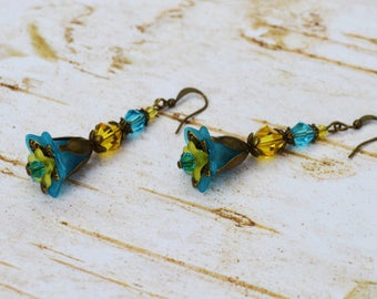 Blue Bell Flower Earrings, Vintage Inspired Earrings, Yellow Crystal Dangle Earrings, Lucite Flower Earrings