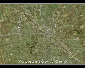 Youngstown Ohio Satellite Poster Map