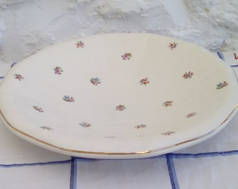 Vintage French serving dish, Digoin Sarreguemines. Flower sprigged with gold rim.