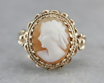 Vintage Cameo Ring, Cameo and Yellow Gold, Retro Era Cameo JLKZ0RDP-C