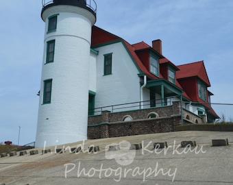 Front View of Point Betsie Lighthouse on Lake Michigan in Frankfort Michigan