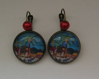 Earrings 20mm cabochon jewel * African landscape *.