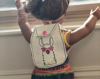 Custom American Made Llama Girl Doll Backpack, 18 inch Doll Backpack, Llama party favor, Llama Custom Bag, Llama Birthday Party Gift Idea
