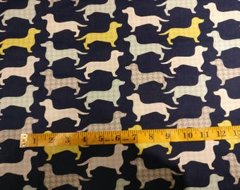Dashounds on navy blue fabric by half yard, dog fabric, printed quilting cotton, dog quilting fabric, dogs sewing fabric