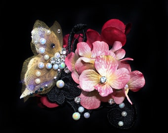 Fairy Hair Flowers Fascinator, Butterfly Headpiece, Lace Hair Accessories, Crystal Butterfly Hair Clip