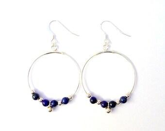 Hoop earrings in sterling silver and lapis lazuli