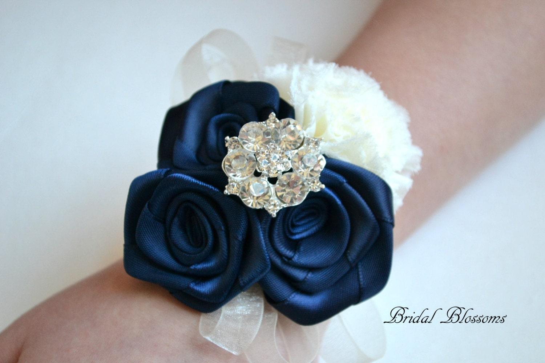 Best seller navy ivory chiffon ribbon flower wrist corsage zoom izmirmasajfo