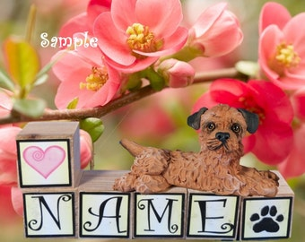 Border Terrier dog PERSONALIZED with your dog's name on blocks by Sally's Bits of Clay