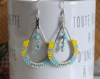 Beadwoven earrings, dangle earrings, earrings yellow, turquoise, Silver earrings