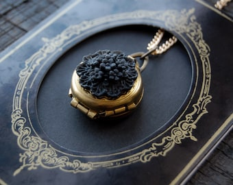 Gold Photo Locket  - Victorian Mourning Black Floral Necklace