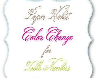 Color Change for Table Numbers