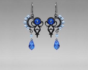 Blue Swarovski Steampunk Earrings, Blue Swarovski Pearls, Crystal Earrings, Steampunk Jewelry, Swarovski Earrings, Clock Hands, Skylla II v3