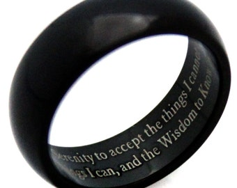 Black Ion Plated Serenity Prayer Ring